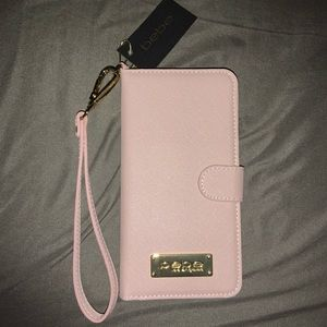 bebe Pink & Gold iPhone 7/8 PLUS Folio Phone Case